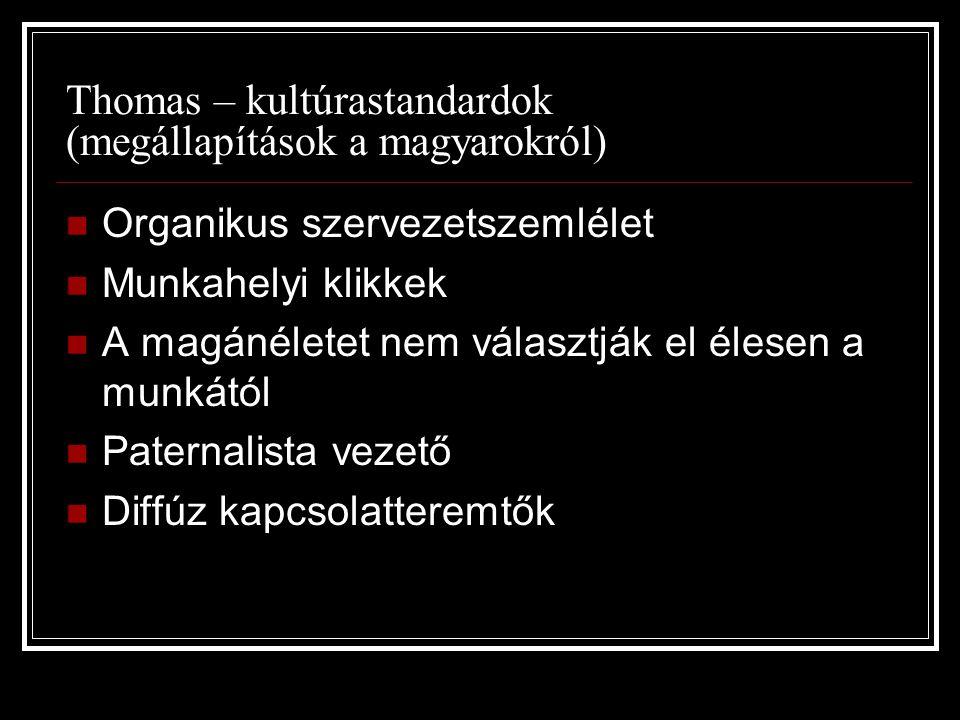 Thomas – kultúrastandardok (megállapítások a magyarokról)