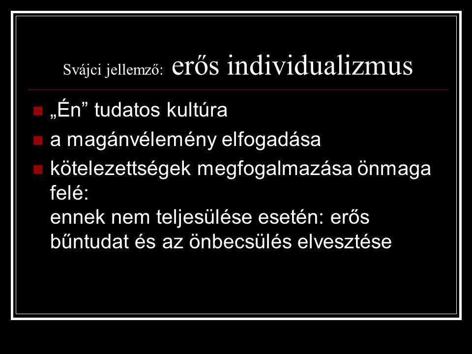 Svájci jellemző: erős individualizmus