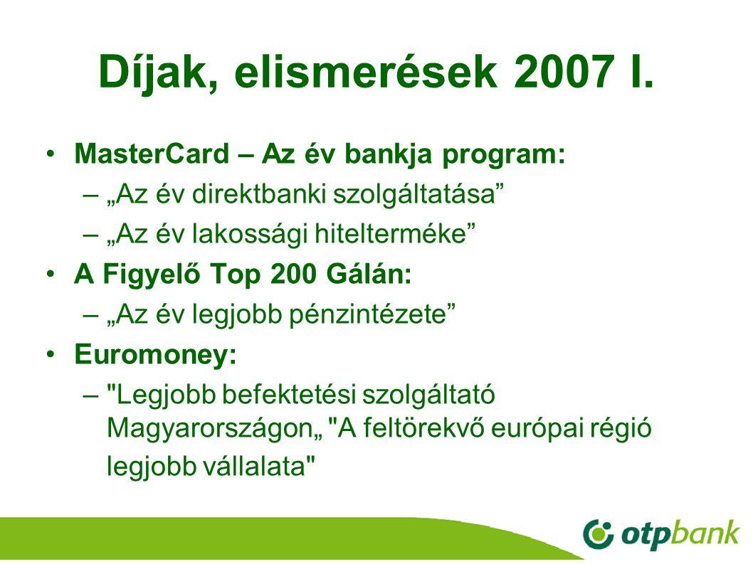 Díjak, elismerések 2007 I. MasterCard – Az év bankja program: