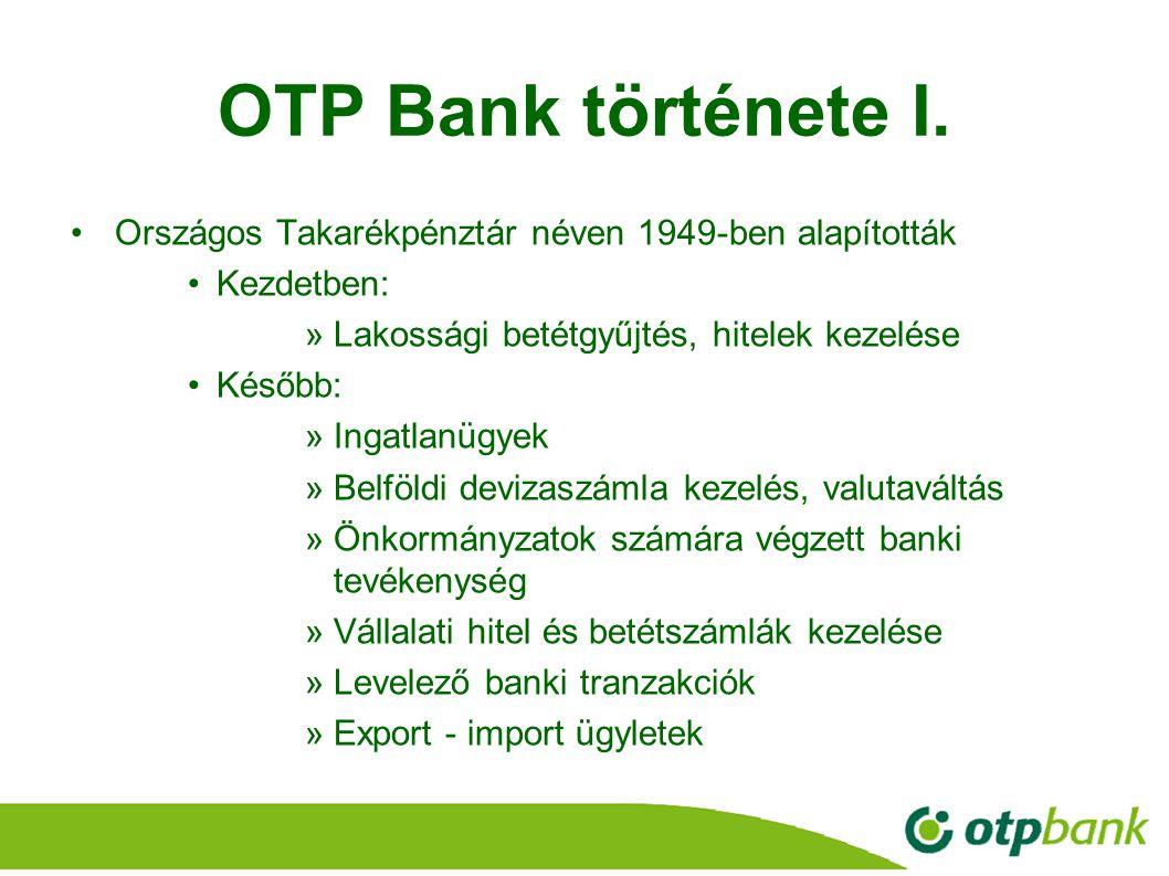 OTP Bank története I. Országos Takarékpénztár néven 1949-ben alapították. Kezdetben: Lakossági betétgyűjtés, hitelek kezelése.
