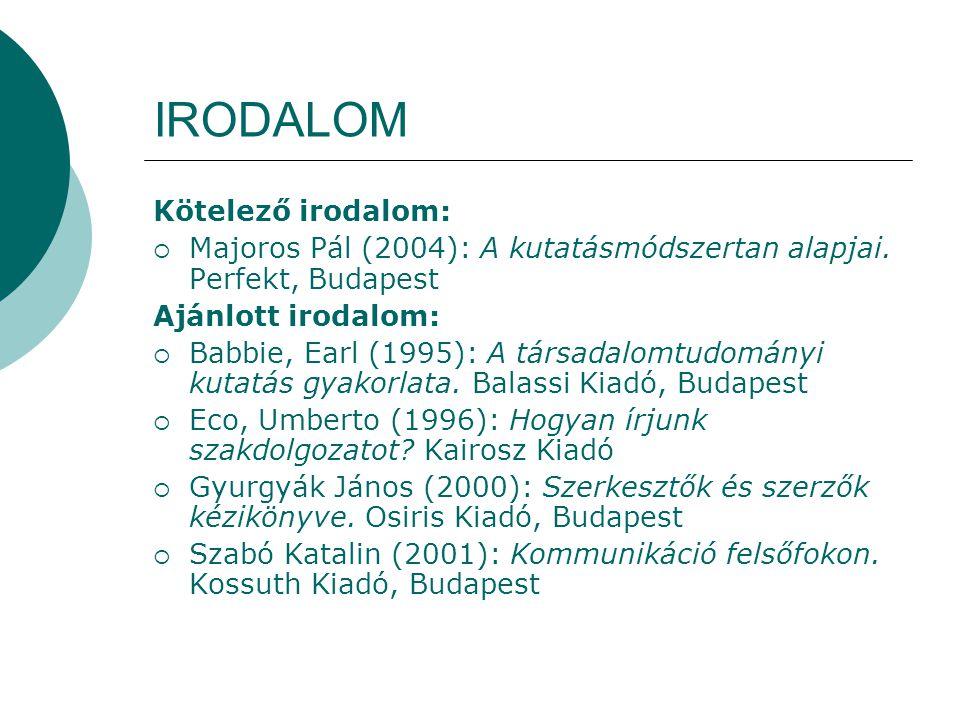 IRODALOM Kötelező irodalom: