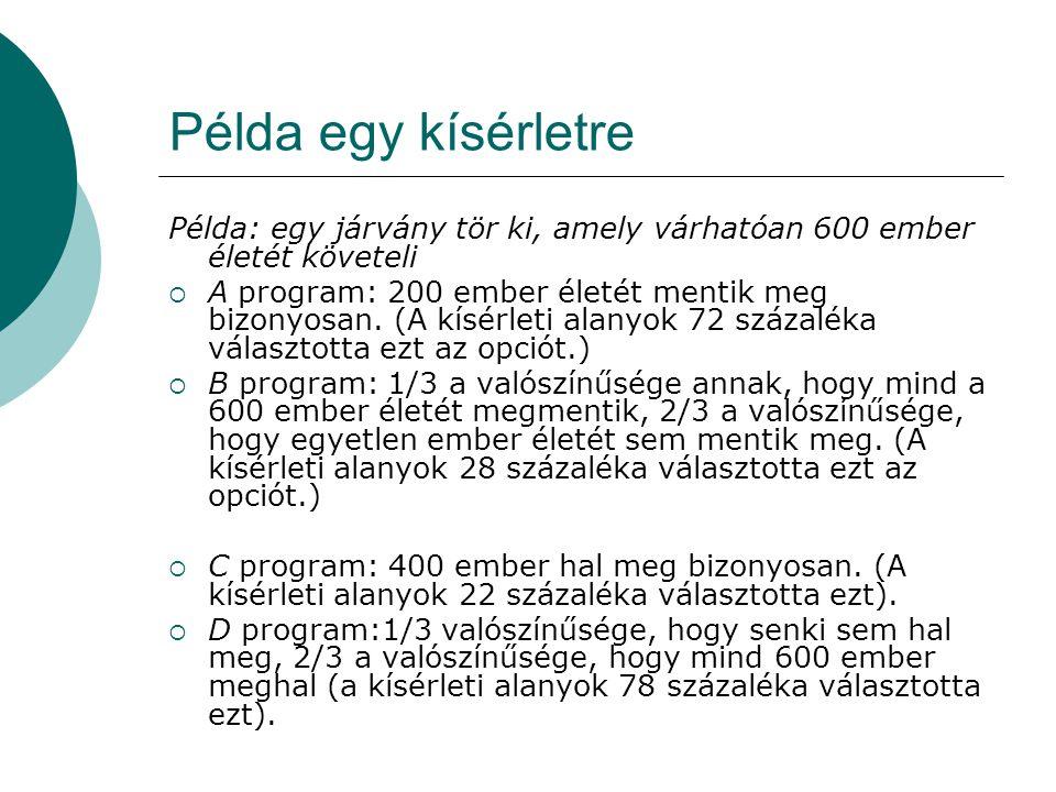 Példa egy kísérletre Példa: egy járvány tör ki, amely várhatóan 600 ember életét követeli.