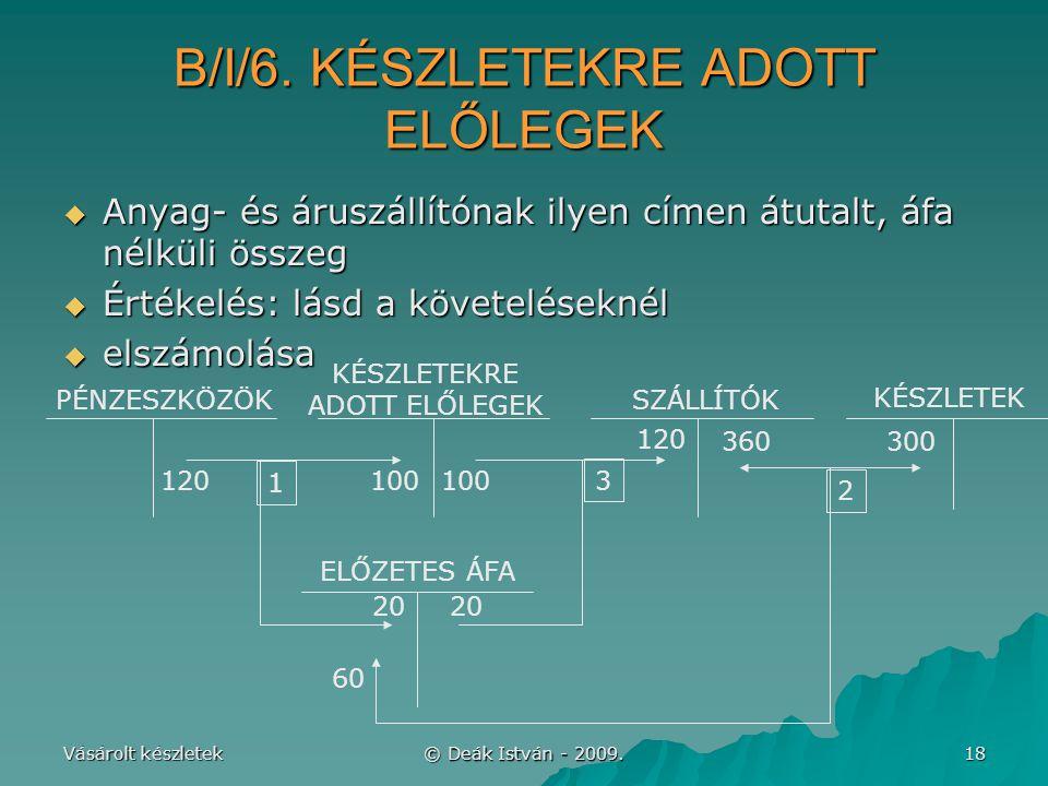 B/I/6. KÉSZLETEKRE ADOTT ELŐLEGEK