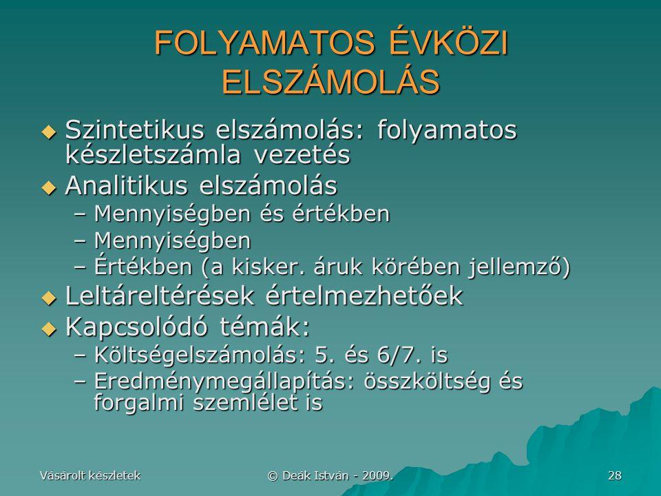 FOLYAMATOS ÉVKÖZI ELSZÁMOLÁS