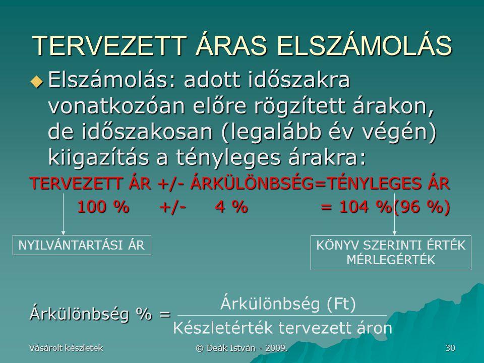 TERVEZETT ÁRAS ELSZÁMOLÁS