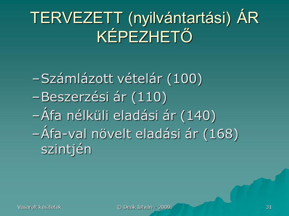 TERVEZETT (nyilvántartási) ÁR KÉPEZHETŐ