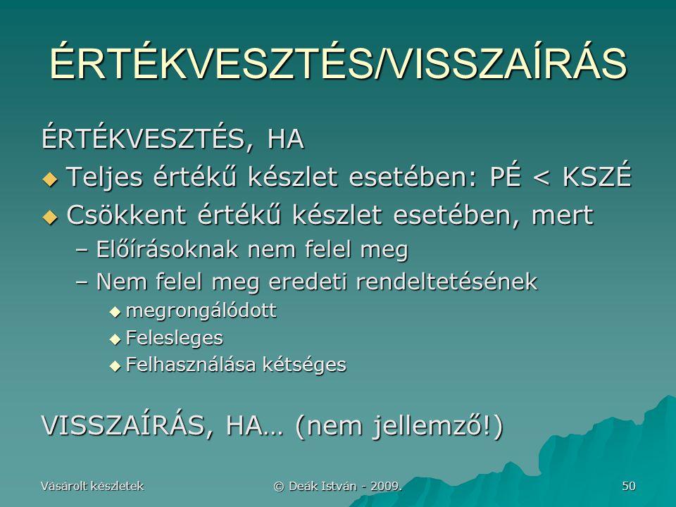 ÉRTÉKVESZTÉS/VISSZAÍRÁS