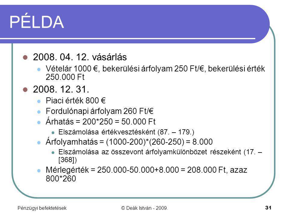 PÉLDA 2008. 04. 12. vásárlás. Vételár 1000 €, bekerülési árfolyam 250 Ft/€, bekerülési érték 250.000 Ft.