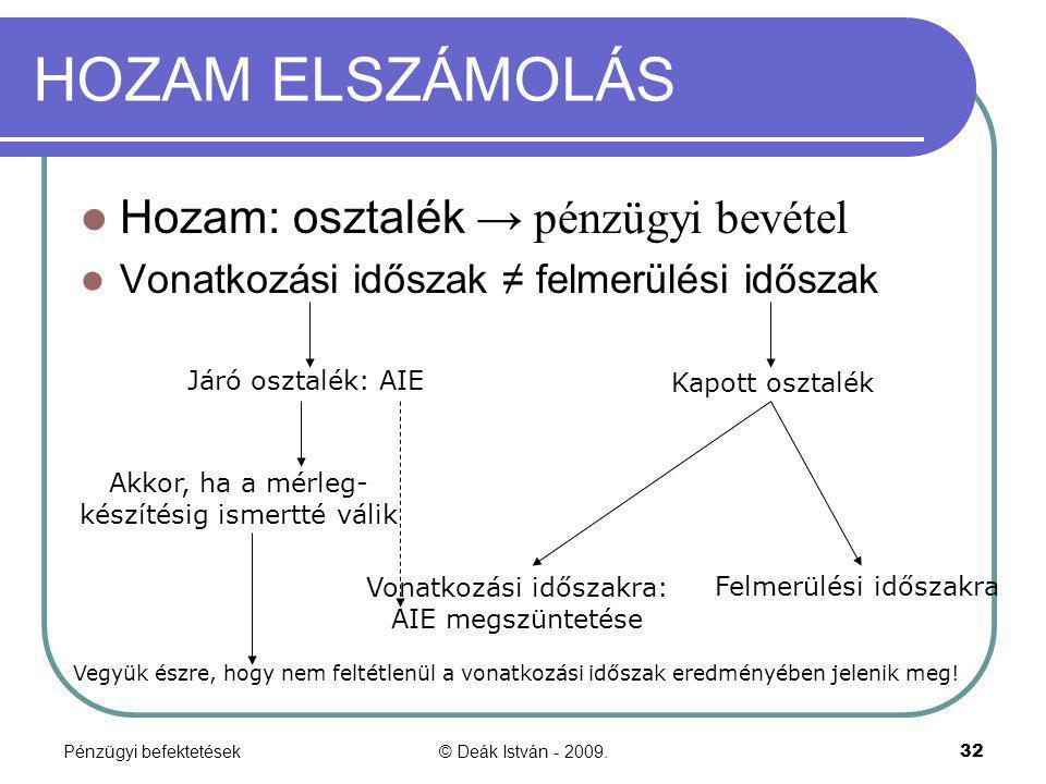 HOZAM ELSZÁMOLÁS Hozam: osztalék → pénzügyi bevétel
