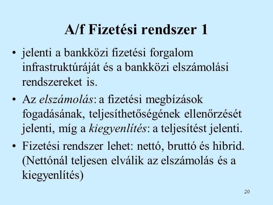 A/f Fizetési rendszer 1 jelenti a bankközi fizetési forgalom infrastruktúráját és a bankközi elszámolási rendszereket is.