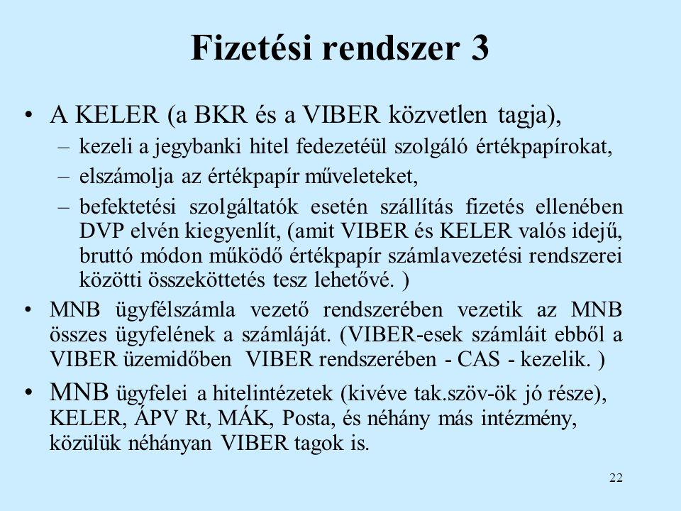Fizetési rendszer 3 A KELER (a BKR és a VIBER közvetlen tagja),
