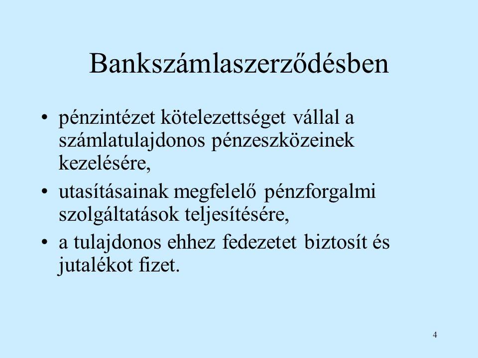 Bankszámlaszerződésben