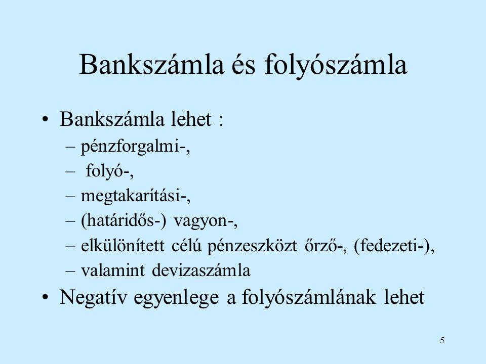 Bankszámla és folyószámla