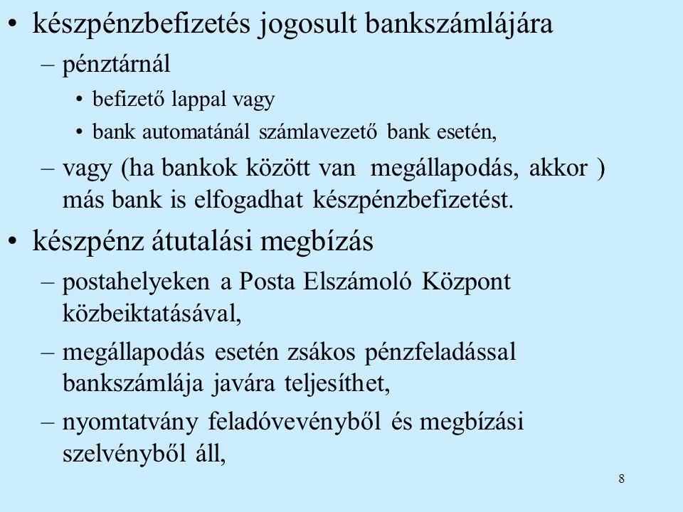 készpénzbefizetés jogosult bankszámlájára