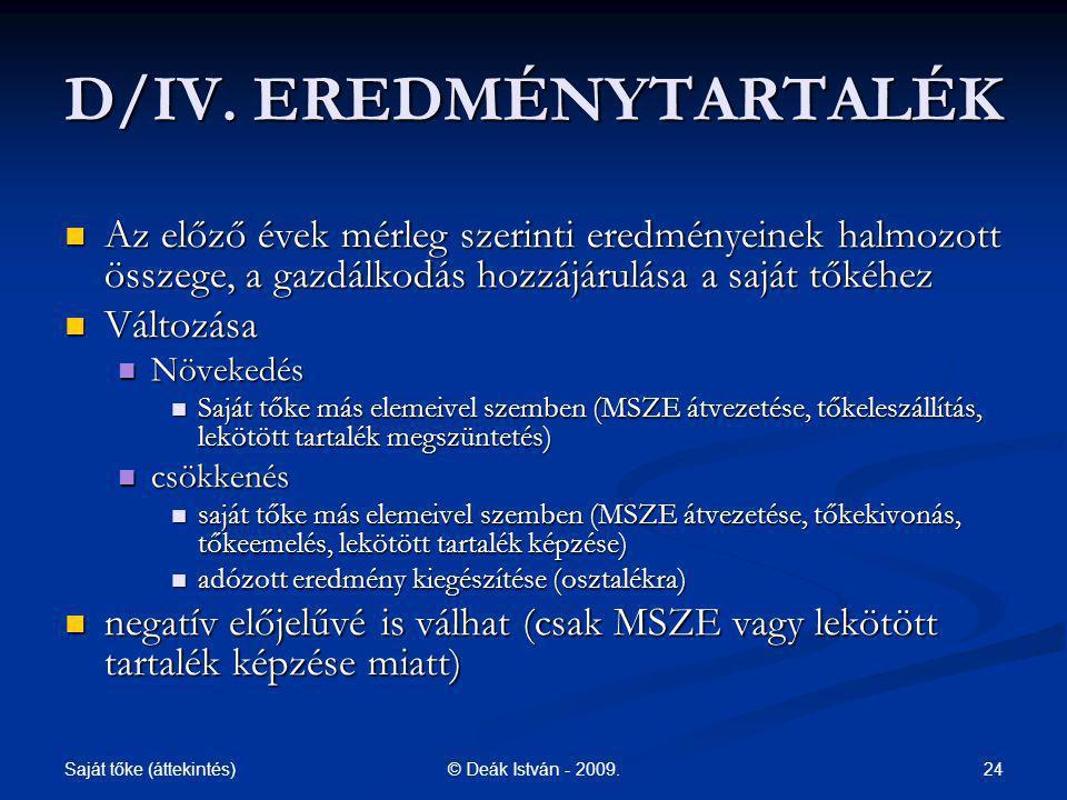 D/IV. EREDMÉNYTARTALÉK