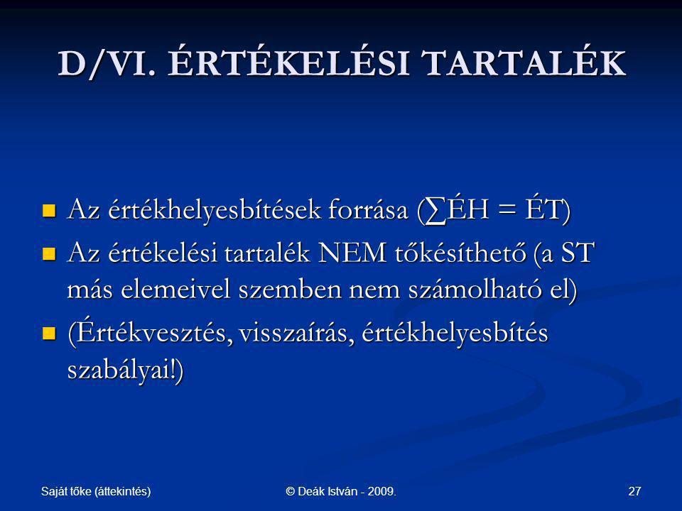 D/VI. ÉRTÉKELÉSI TARTALÉK