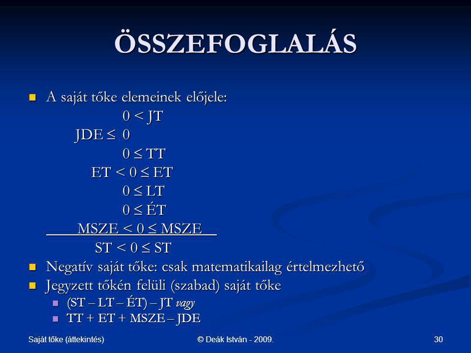 ÖSSZEFOGLALÁS A saját tőke elemeinek előjele: 0 < JT JDE  0 0  TT