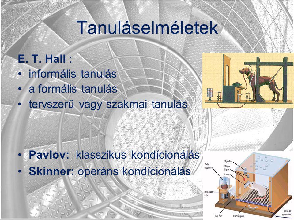 Tanuláselméletek E. T. Hall : informális tanulás a formális tanulás