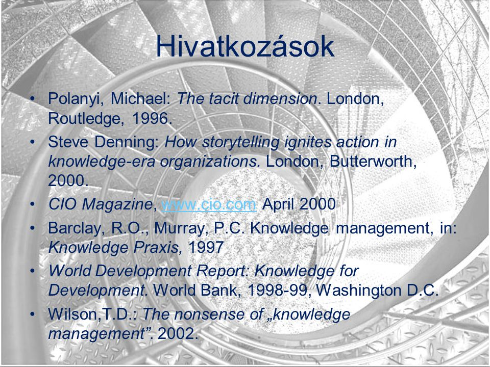 Hivatkozások Polanyi, Michael: The tacit dimension. London, Routledge, 1996.
