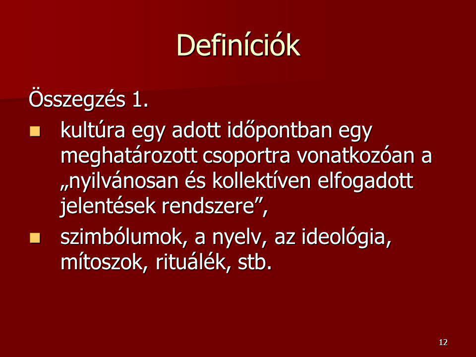 Definíciók Összegzés 1.