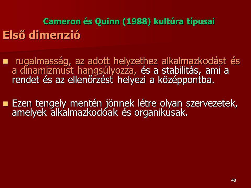 Cameron és Quinn (1988) kultúra típusai