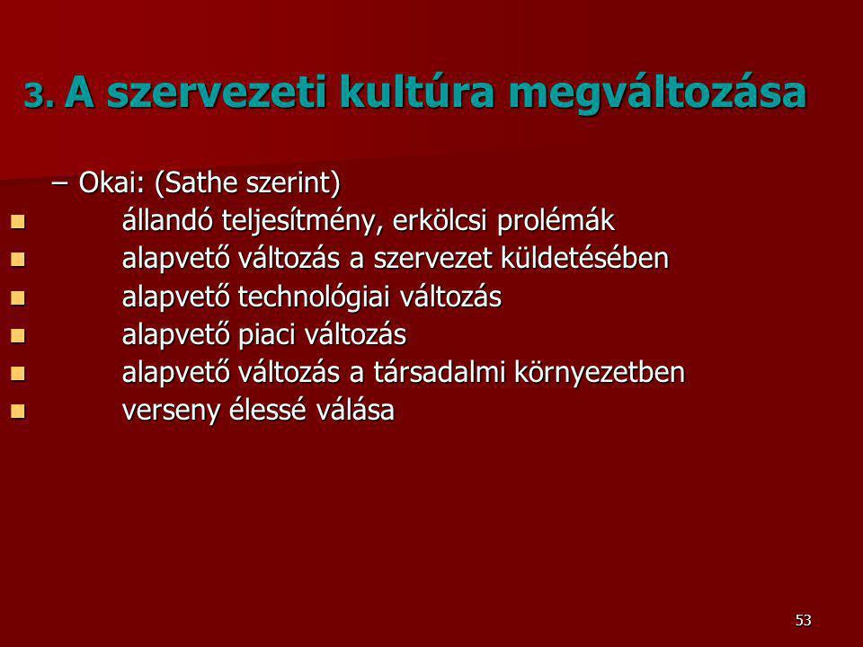 3. A szervezeti kultúra megváltozása