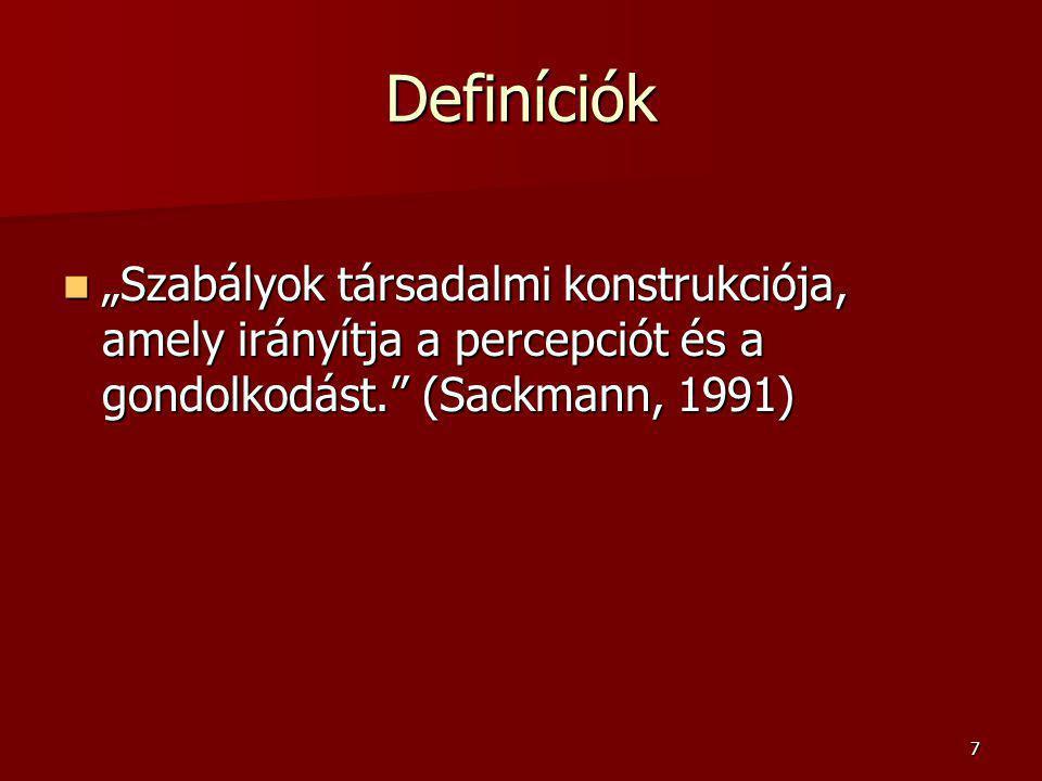 """Definíciók """"Szabályok társadalmi konstrukciója, amely irányítja a percepciót és a gondolkodást. (Sackmann, 1991)"""