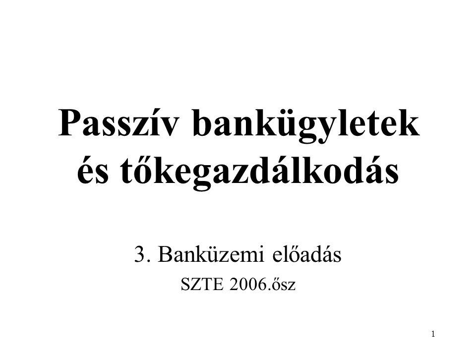 Passzív bankügyletek és tőkegazdálkodás
