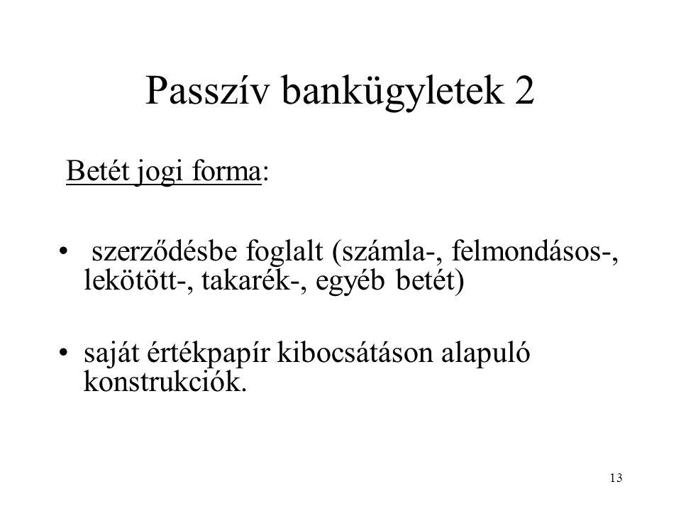 Passzív bankügyletek 2 Betét jogi forma: