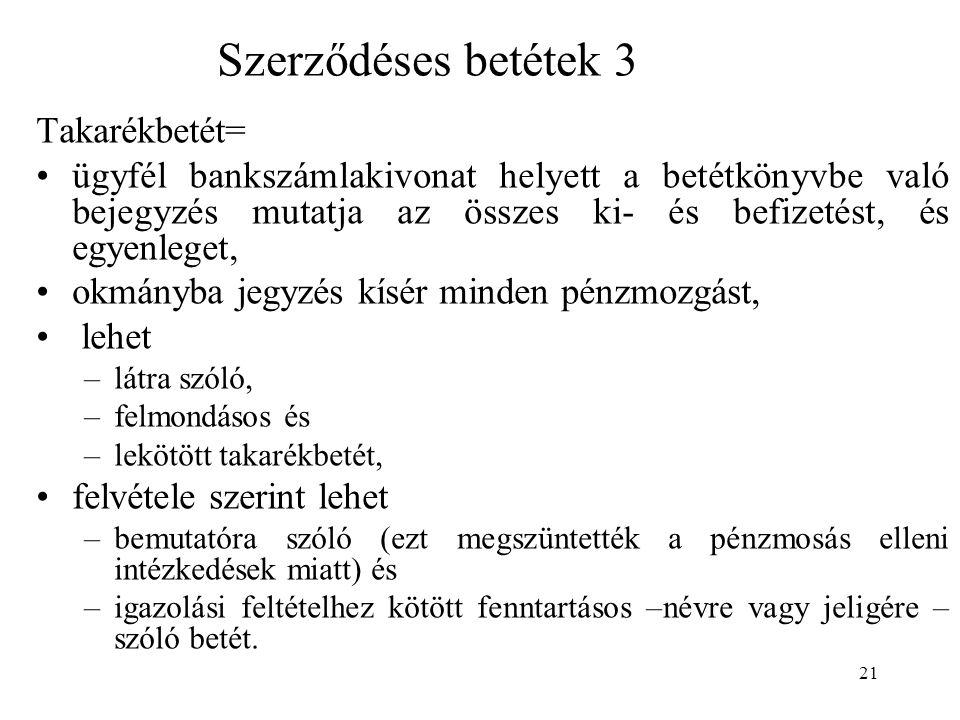 Szerződéses betétek 3 Takarékbetét=