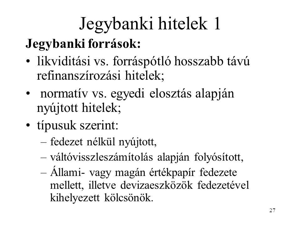 Jegybanki hitelek 1 Jegybanki források:
