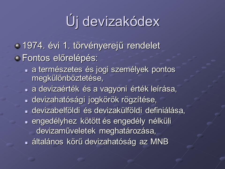 Új devizakódex 1974. évi 1. törvényerejű rendelet Fontos előrelépés: