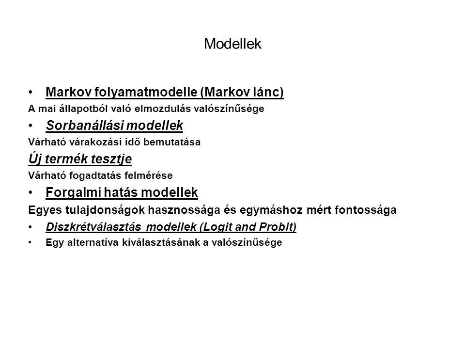 Modellek Markov folyamatmodelle (Markov lánc) Sorbanállási modellek