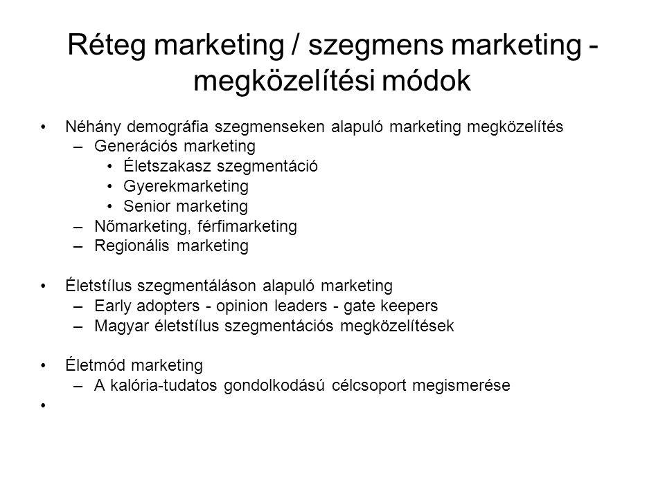 Réteg marketing / szegmens marketing - megközelítési módok