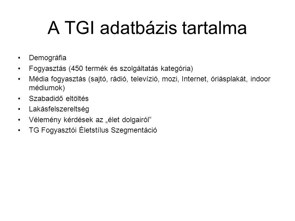 A TGI adatbázis tartalma