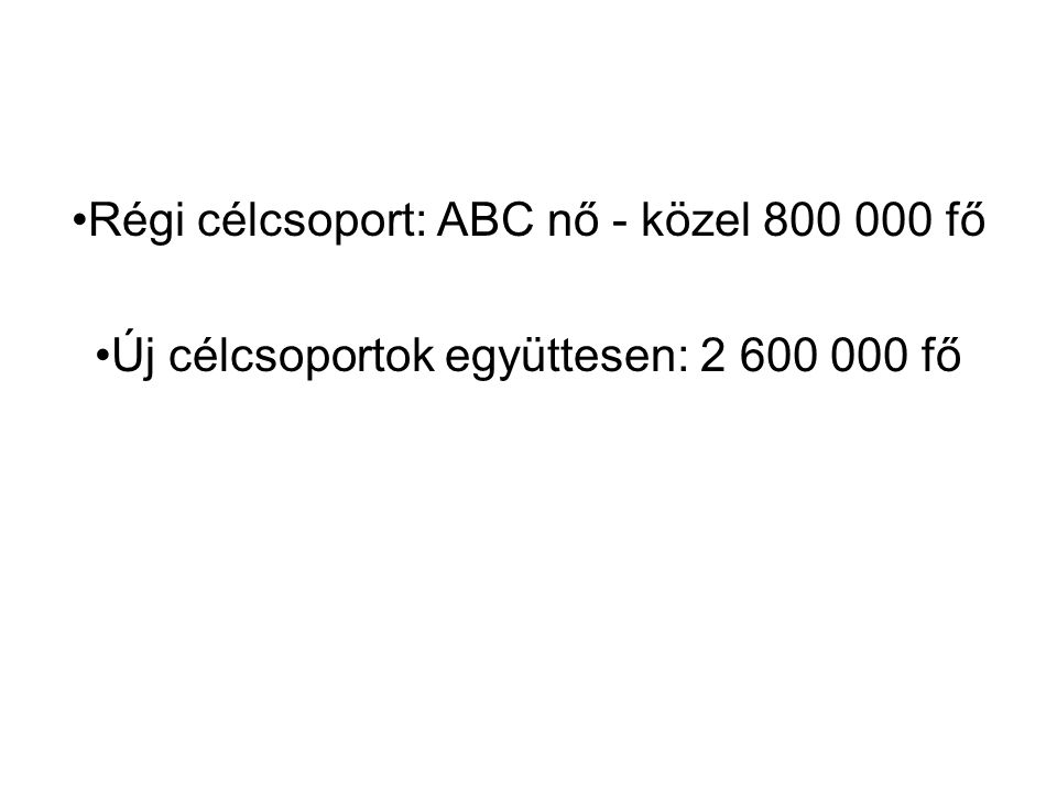 Régi célcsoport: ABC nő - közel 800 000 fő