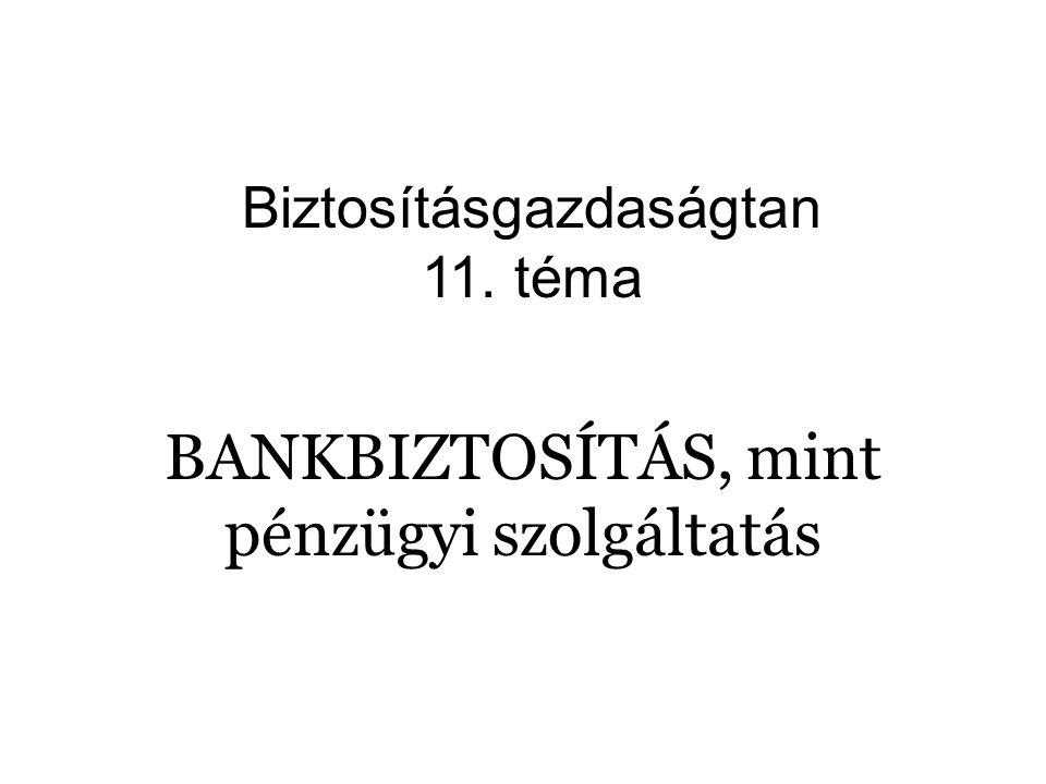 BANKBIZTOSÍTÁS, mint pénzügyi szolgáltatás