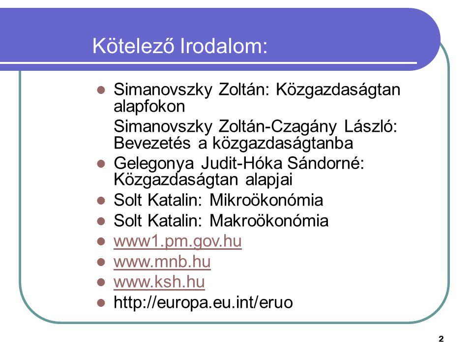 Kötelező Irodalom: Simanovszky Zoltán: Közgazdaságtan alapfokon