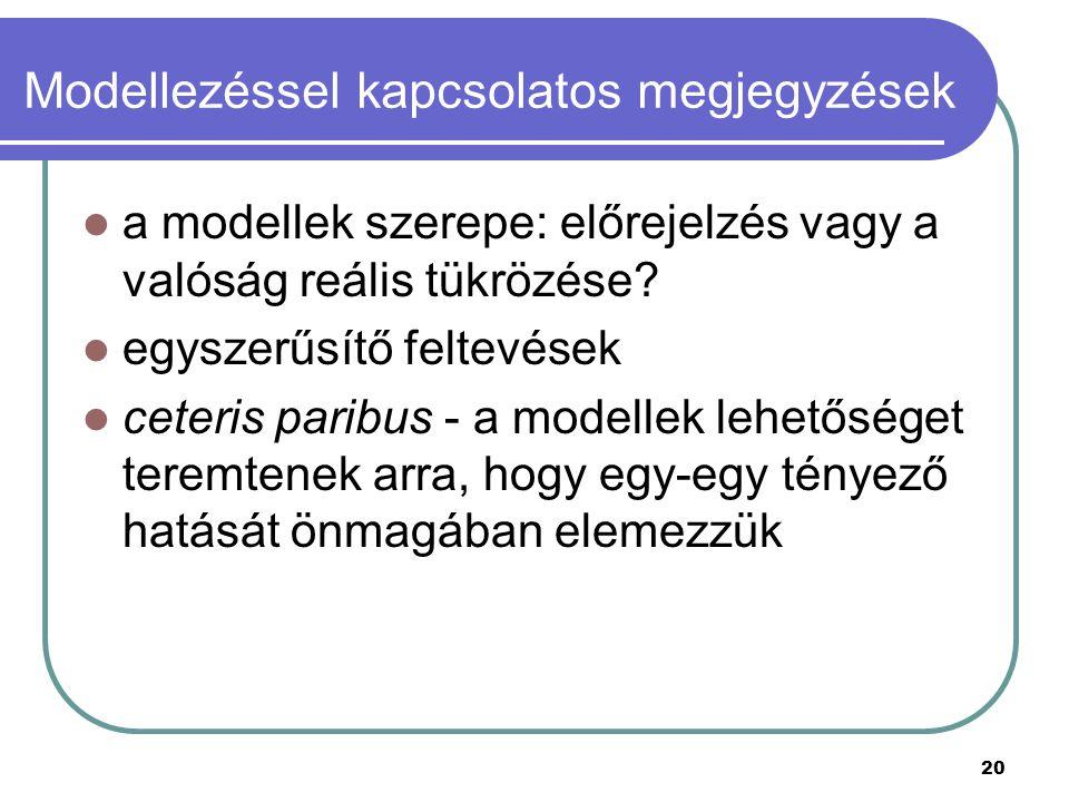 Modellezéssel kapcsolatos megjegyzések