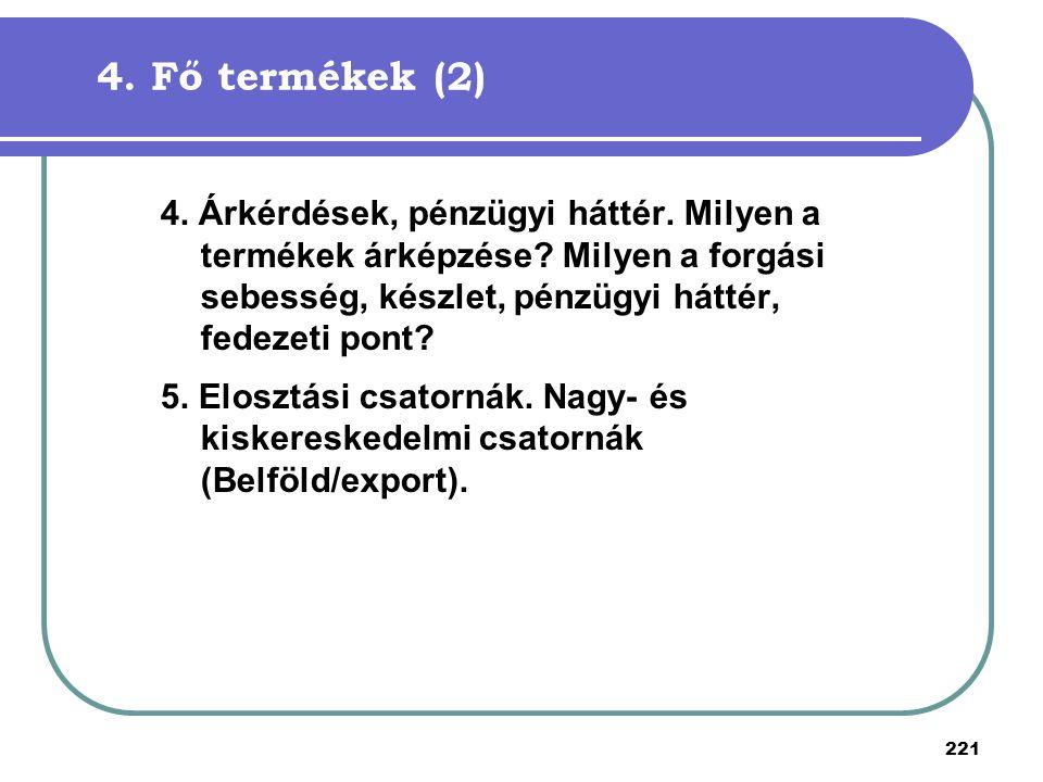 4. Fő termékek (2) 4. Árkérdések, pénzügyi háttér. Milyen a termékek árképzése Milyen a forgási sebesség, készlet, pénzügyi háttér, fedezeti pont