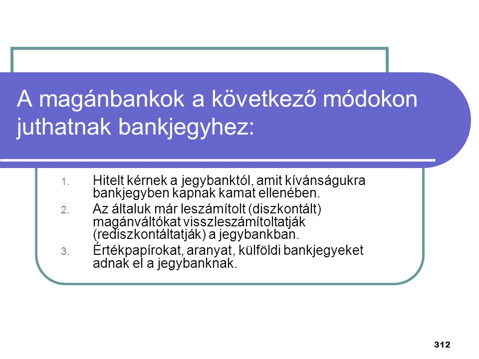 A magánbankok a következő módokon juthatnak bankjegyhez: