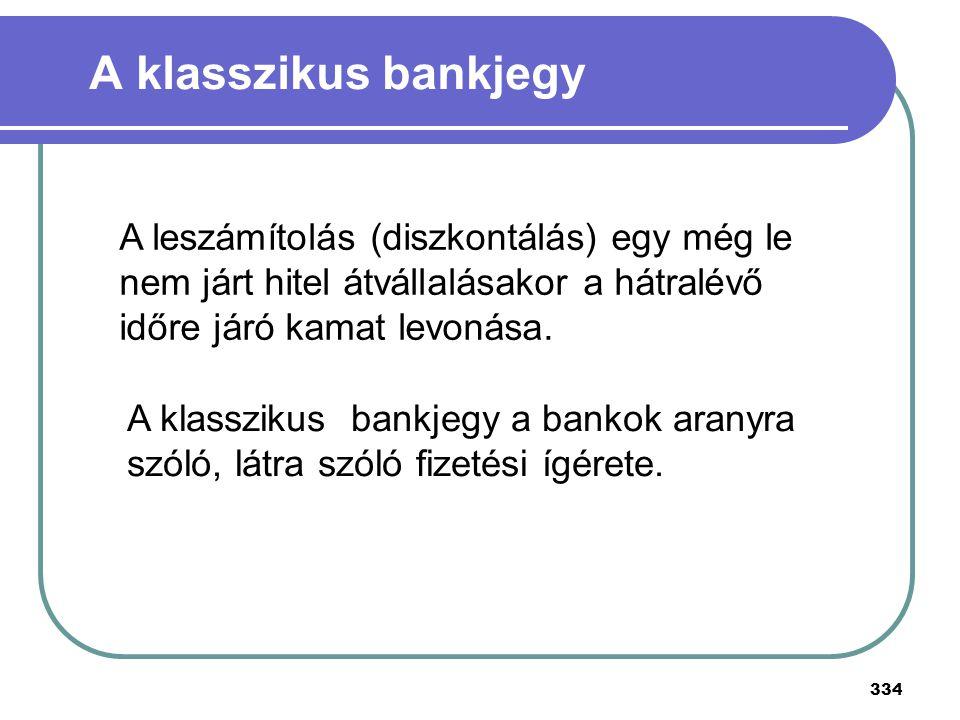 A klasszikus bankjegy A leszámítolás (diszkontálás) egy még le nem járt hitel átvállalásakor a hátralévő időre járó kamat levonása.