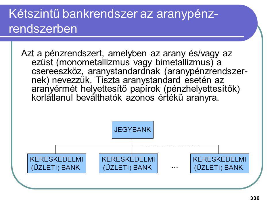 Kétszintű bankrendszer az aranypénz-rendszerben