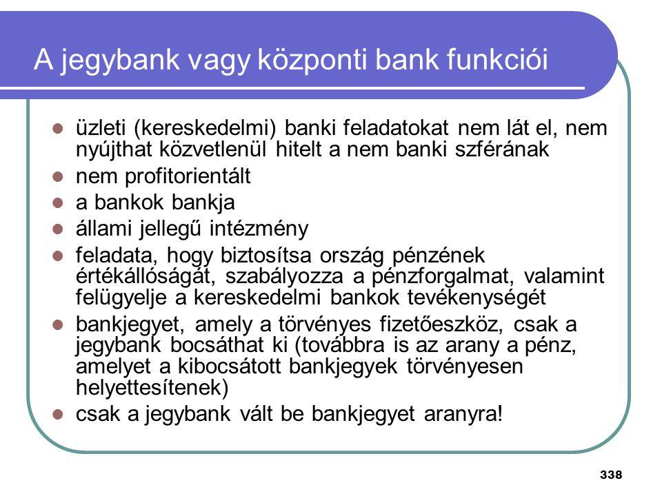 A jegybank vagy központi bank funkciói