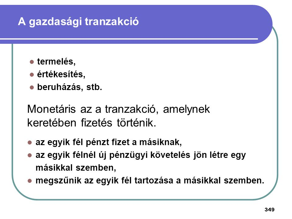 A gazdasági tranzakció