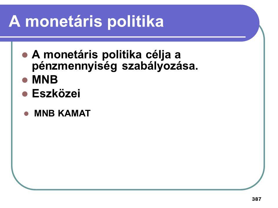 A monetáris politika A monetáris politika célja a pénzmennyiség szabályozása.