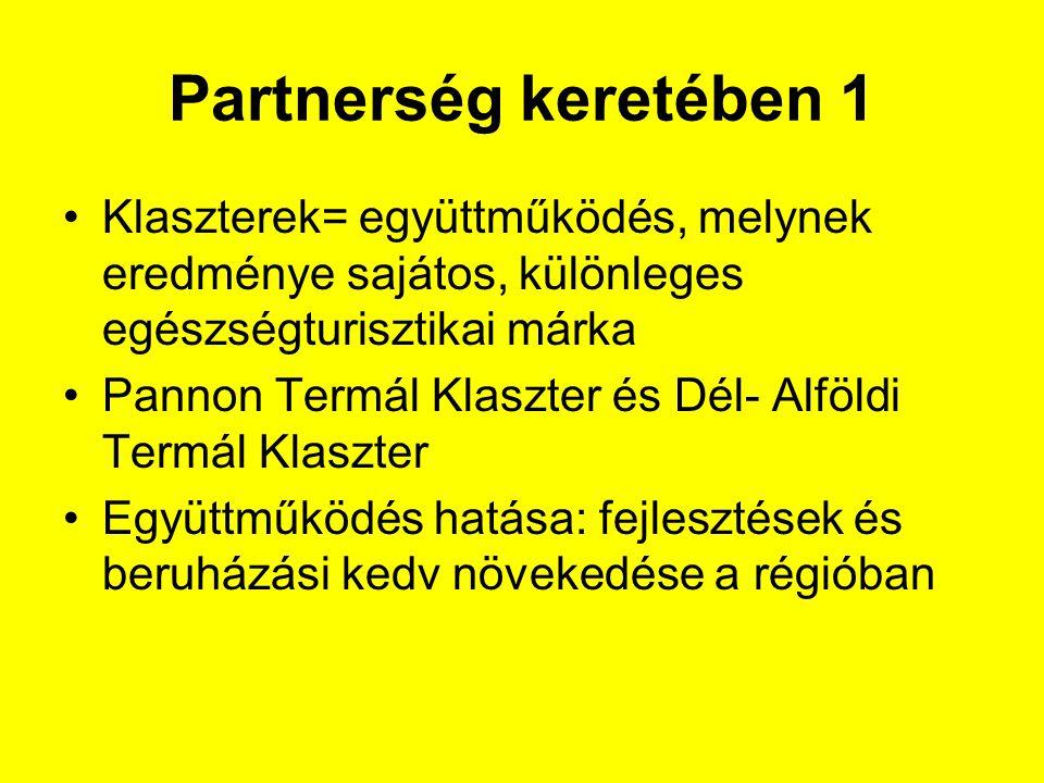 Partnerség keretében 1 Klaszterek= együttműködés, melynek eredménye sajátos, különleges egészségturisztikai márka.