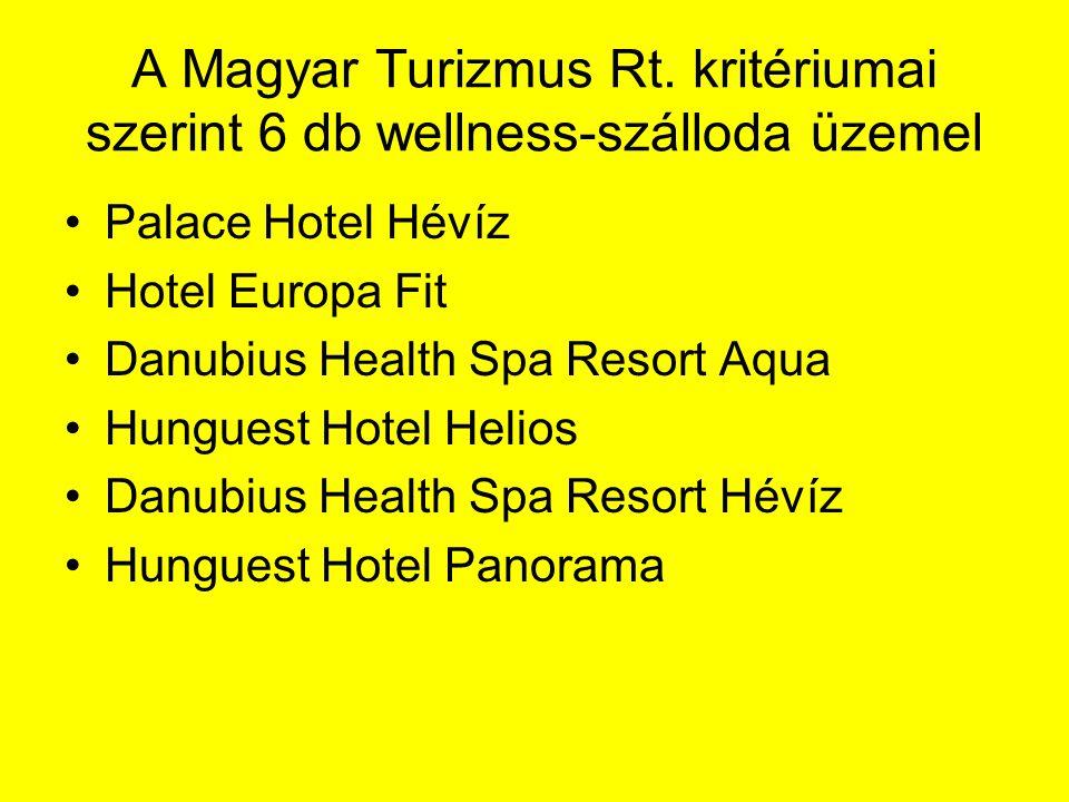 A Magyar Turizmus Rt. kritériumai szerint 6 db wellness-szálloda üzemel