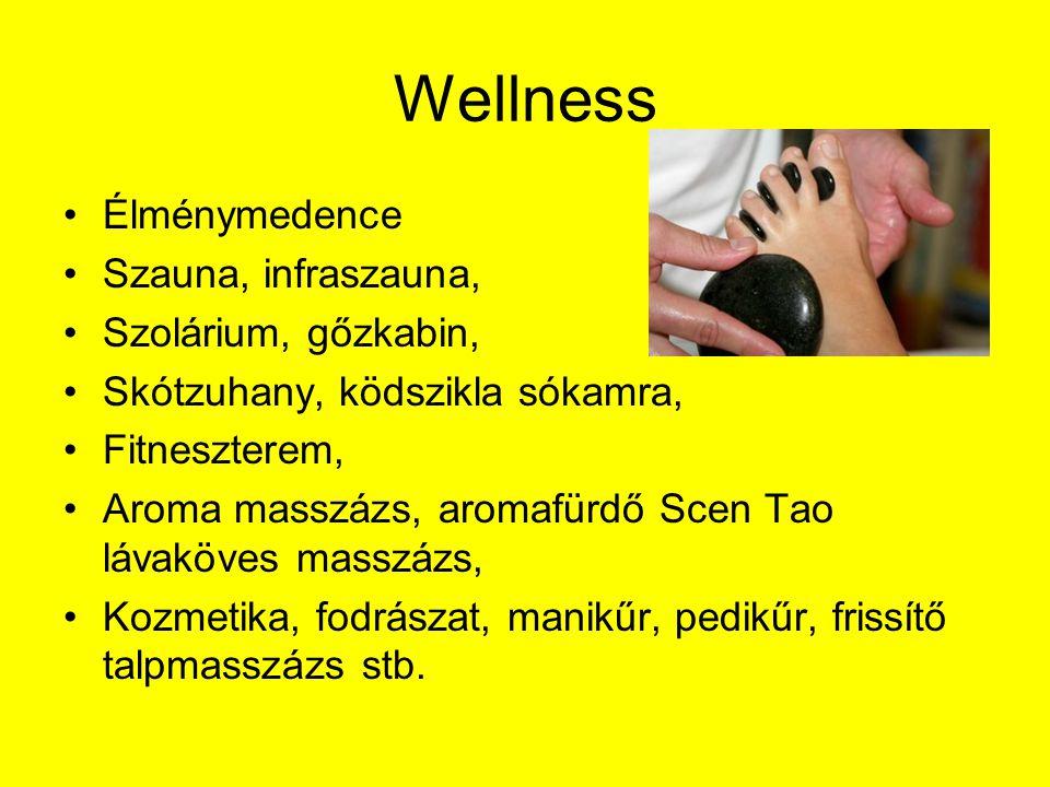 Wellness Élménymedence Szauna, infraszauna, Szolárium, gőzkabin,
