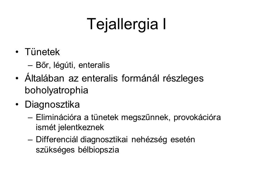 Tejallergia I Tünetek. Bőr, légúti, enteralis. Általában az enteralis formánál részleges boholyatrophia.